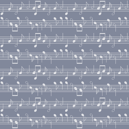 Seamless music pattern with staff and notes. Elegant print of various musical symbols in blue and grey colors. Vector illustration