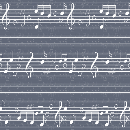 Seamless music pattern with staff and notes. High contrast elements on the background of low contrast ones. Elegant print of various musical symbols. Blue, grey and white colors. Vector illustration