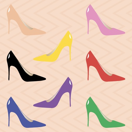 stilettos: Classic high heel pumps. Stylish elegant shoes for women. Sexy stilettos. Peach, pink, yellow, black, red, purple, blue, green colors. Seamless zigzag backdrop. Vector illustration for fashion design