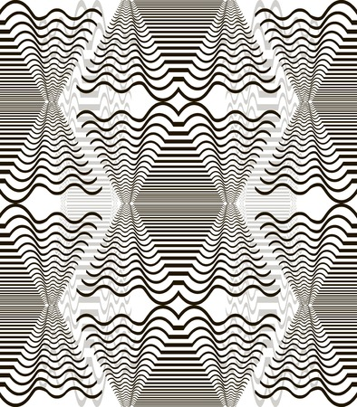 ripply: Seamless pattern of wavy elements. Horizontal lines forming diamond shape with winding branches. High contrast figures on the background of low contrast ones. Vector illustration for stylish design