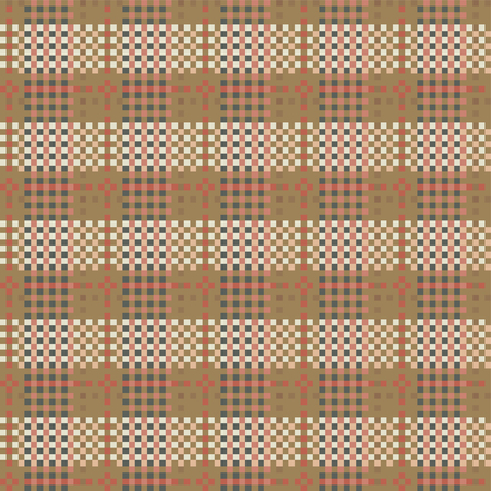 country style: Seamless checkered pattern in country style. Criss-crossed horizontal and vertical bands in multiple colors form plaid ornament. Numerous interwoven strips. Vector illustration