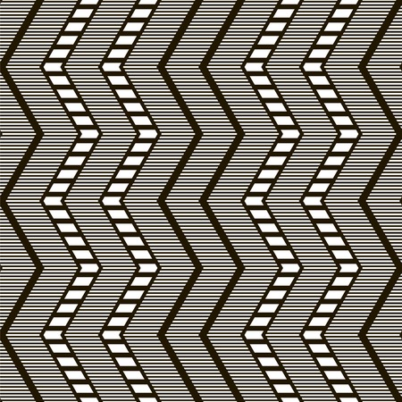 flexure: Stylish elegant modern seamless pattern with ethnic motifs. Black and white vertical zigzag with horizontal stripes. Contrasting graphic ornament. Vector illustration for beautiful creative design