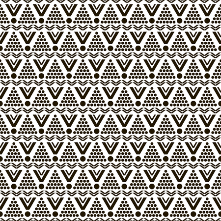 Abstract seamless black and white pattern of round, triangular, zigzag elements. Contrasting graphically print. Vector illustration for modern design