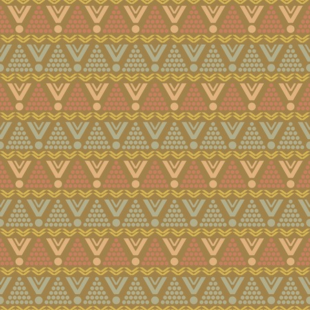 graphically: Abstract seamless pattern of round, triangular, zigzag elements in muted low contrast colors. Graphically textile print. Vector illustration for fashion design