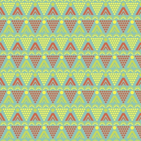 Abstract seamless pattern of round, triangular, zigzag elements. Cheerful geometric print in yellow, green, orange, blue colors. Bright summer design. Vector illustration for various creative projects