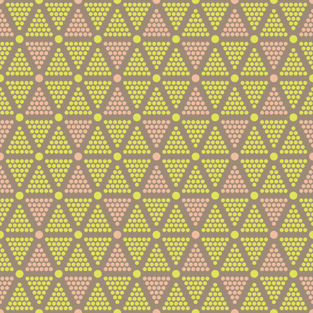 graphically: Abstract seamless dots pattern. Multicolored triangles made of ordered circles form alternating hexagons and hourglass shapes. Elegant graphically print. Vector illustration for modern design