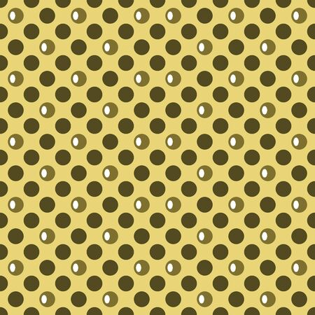 contrasting: Abstract seamless pattern of colored circles. Large polka dots. Perforated contrasting background. Yellow and dark olive green colors. Vector illustration for fabric, paper and other Illustration