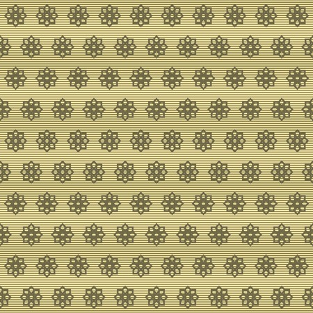 striated: Abstract seamless pattern of graphically carved flowers on striped background. Elegant floral print in yellow and dark olive green colors. Vector illustration for fabric, paper and other