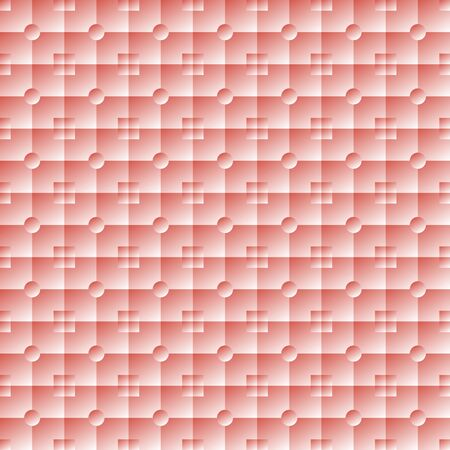 smooth surface: Illuminated soft volume seamless texture. Square and round pink tiles with smooth surface. Lit embossed wallpaper. Vector illustration for stylish modern design Illustration