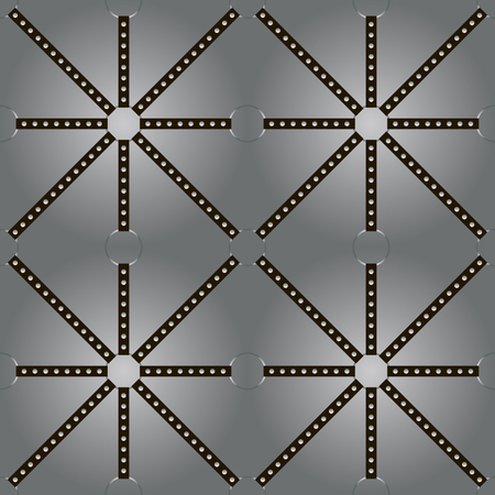 stretched: Black belts with rivets stretched on rings in backlight on gray background. Seamless pattern of endlessly repeating square, triangular, diamond shaped forms. Vector illustration for stylish design Illustration