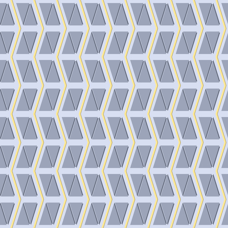 multidirectional: Abstract seamless pattern of vertical zigzag and triangles in yellow and shades of blue-grey colors. Modern print of triangular tiles. Vector illustration for various creative projects