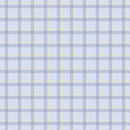 tilt: Seamless checkered pattern in yellow and blue colors. Thin diagonal lines form plaid print. Optical illusion of slight tilt. Fashion cells. Vector illustration for fabric, wrapping paper and other
