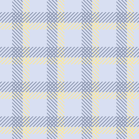 blue cells: Seamless geometric pattern in yellow and blue colors. Thin diagonal lines form endless checkered print. Bicolor large square cells. Vector illustration for fabric, wrapping paper and other