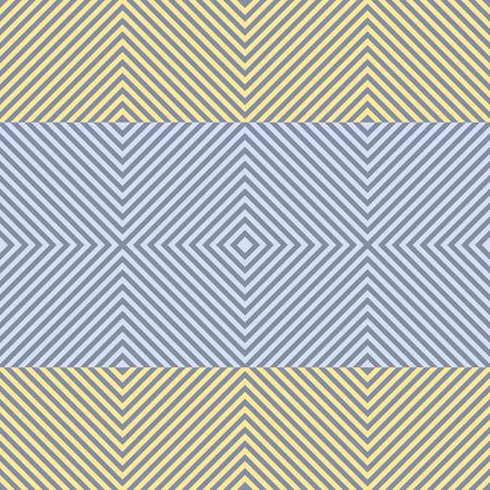 Abstract naadloos patroon van vierkanten. Vierkante frames van afnemende grootte plaatsten binnen een andere continue vorming tekening. Brede horizontale strepen in geel en blauw kleuren. vector illustratie