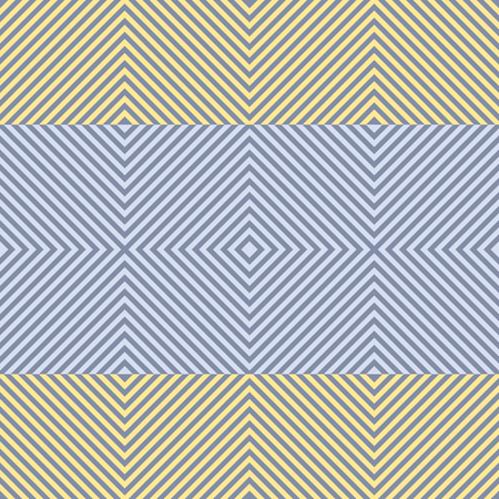 decreasing in size: Abstract seamless pattern of squares. Square frames of decreasing size placed one inside another forming continuous drawing. Wide horizontal stripes in yellow and blue colors. Vector illustration Illustration