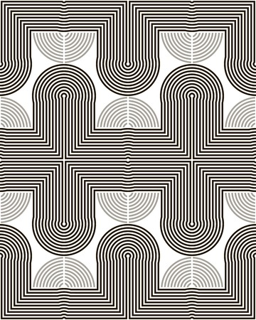 cusp: Abstract seamless geometric black and white pattern. Endless tracks of bent and curved lines. Vector illustration for stylish creative design Illustration