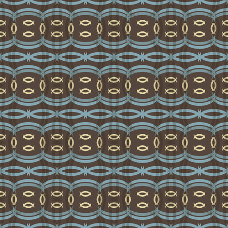 roundish: Elegant seamless pattern with ethnic motifs. Roundish crescent-shaped translucent figures. Folk style print in brown, yellow, blue colors. Vector illustration for beautiful creative design