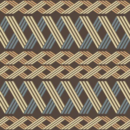 alternate: Elegant ethnic seamless pattern with horizontal pigtails. Wicker lattice of intersecting stripes. Rustic style print in brown, yellow, blue, orange colors. Vector illustration for creative design