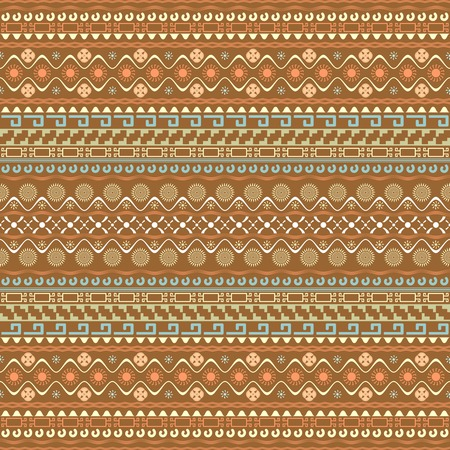 variegated: Seamless pattern with Maya style elements. Horizontal chain of various geometric shapes and symbols forming ethnic ornament. Multielement variegated continuous print. illustration Illustration