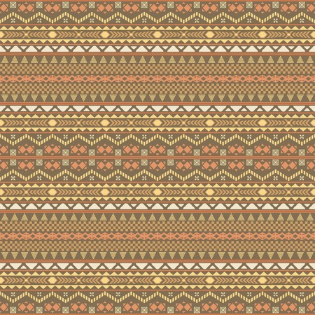 striped band: Seamless pattern with ethnic motifs in brown, orange, yellow colors. Horizontal chain of various geometric shapes forming folk style ornament. Multielement graphic print. illustration