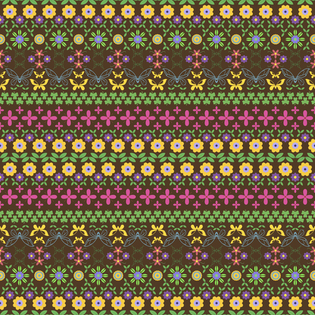 twining: Seamless motley summer pattern. Horizontal chains of flowers, twining stems, leaves, butterflies and trifoliate clovers forming variegated ornament. illustration for creative design