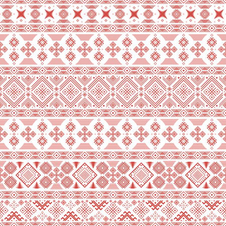 slavonic: Seamless pattern with Slavic style elements in white and red colors. Horizontal chains of various geometric shapes forming ethnic ornament. illustration for creative design