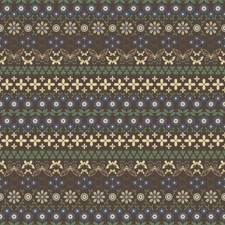 twining: Seamless summer pattern in brown, yellow, blue, green colors. Horizontal chains of flowers, twining stems, leaves, butterflies and trifoliate clovers forming ornament. illustration