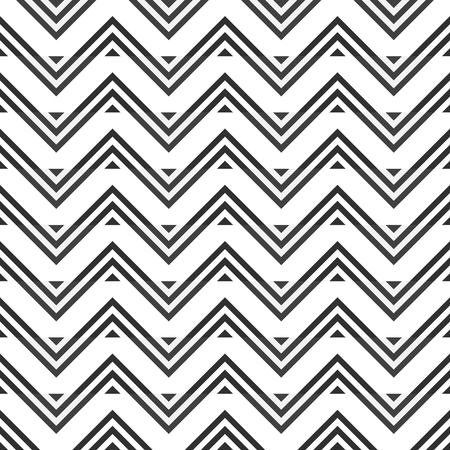 flexure: Abstract seamless pattern of gray zigzag on white background. Optical illusion of horizontal stripes. Stylish graphic print. illustration for modern creative design