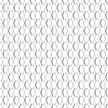 sides: Abstract seamless geometric pattern of honeycomb shapes. Hexagons and rhombuses with dark gray color sides on white background. illustration for various creative projects