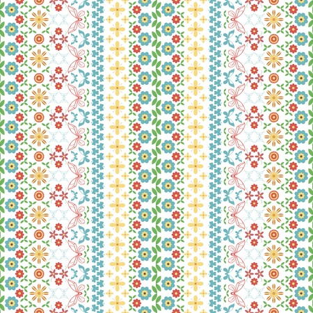 twining: Seamless motley summer pattern. Vertical chains of flowers, twining stems, leaves, butterflies and trifoliate clovers forming variegated ornament. illustration for creative design