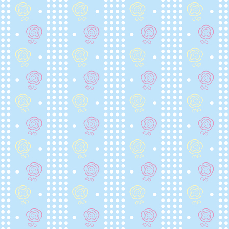 blown: Gentle seamless dots pattern with charming full-blown roses. Cute simple floral ornament in white, pastel blue, pink, yellow colors. illustration for fabric, scrapbooking paper and other Illustration