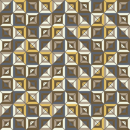 grid paper: Abstract seamless pattern of colored square blocks divided by diagonal grid. Motley graphic print for stylish modern design. Brown, yellow, blue colors. illustration for fabric, paper and other Illustration