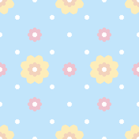 serrated: Gentle seamless pattern of flowers with serrated petals. Cute simple floral ornament in pastel blue, pink, yellow, orange colors. illustration for fabric, scrapbooking paper and other Illustration