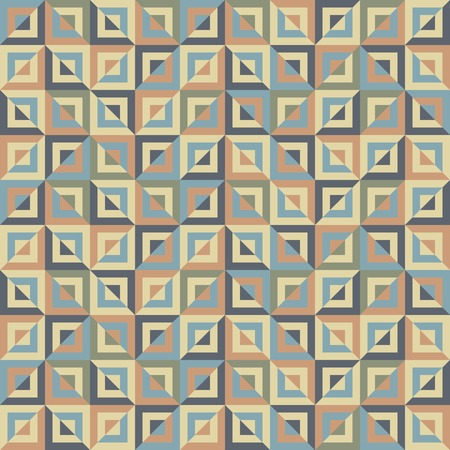 motley: Abstract seamless pattern of colored divided square blocks. Numerous squares of decreasing sizes placed one inside another. Motley graphic print for stylish modern design. illustration