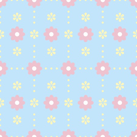 Gentle seamless pattern with polka dot and flowers. Cute simple floral ornament in pastel blue, pink, yellow colors. illustration for fabric, scrapbooking paper and other