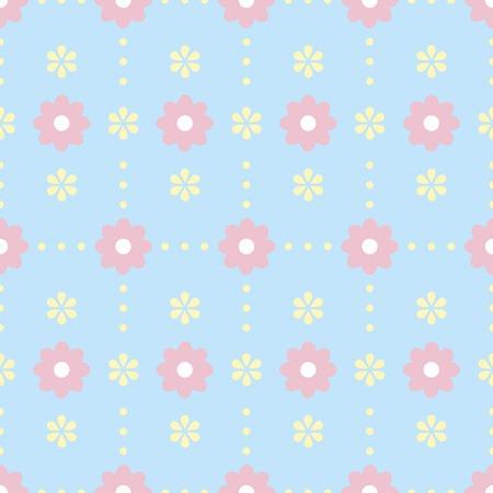 水玉と花の穏やかなシームレス パターン。かわいいパステル ブルー、ピンク、イエロー カラーの簡単な花の飾り。ファブリック、スクラップブッ キング紙やその他の図