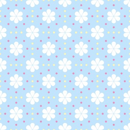 Gentle seamless polka dot pattern with drop-shaped petals flowers. Cute simple floral ornament in white, pastel blue, pink, yellow colors. illustration for fabric, scrapbooking paper and other