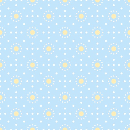 sized: Abstract seamless dots pattern. Simple geometric print of different sized circles in white, pastel blue and yellow colors. illustration for creative design