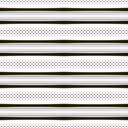 laconic: Abstract seamless geometric pattern with horizontal stripes and dots. Elegant laconic print in black, white and shades of gray colors for fabric, paper and other. Illustration