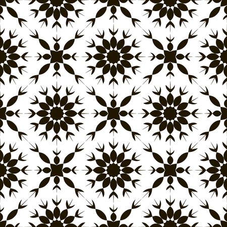pointy: Seamless black and white pattern of abstract flowers with pointed petals. Elegant contrasting floral ornament for fabric, paper and other.