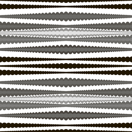 roundish: Abstract seamless geometric pattern of horizontal wavy stripes. Endless graphic print with roundish elements in black, white and shades of gray colors.