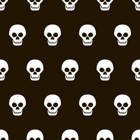 lugubrious: Seamless black and white pattern of evil skulls. Eerie Halloween background. Vector illustration for various creative projects