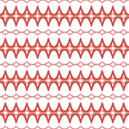 roundish: Elegant seamless pattern in white and red colors. Endless horizontal chains of roundish geometric elements. Beautiful contrasting ornament. Vector illustration for various creative projects
