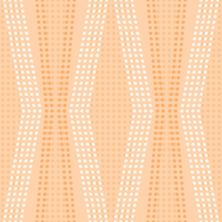 crooked: Abstract seamless geometric pattern. Curved vertical stripes of white and orange small circles. Endless dots print in peach color. Vector illustration for various creative projects