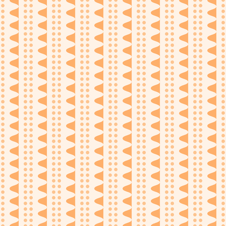 undulating: Abstract seamless geometric pattern. Vertical rows of undulating shapes and small circles. Cute ornament in orange color. Vector illustration for various creative projects