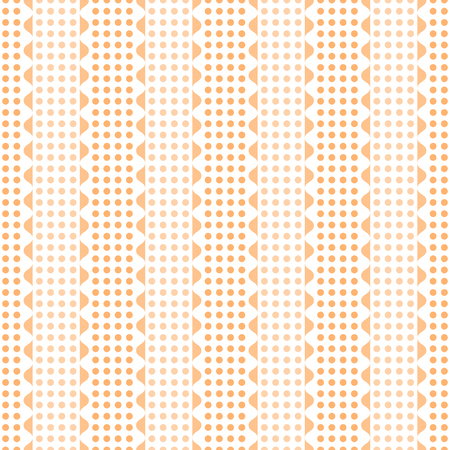 undulating: Abstract seamless geometric pattern. Vertical rows of undulating shapes and small circles. Endless wavy dots ornament in orange and white colors. Vector illustration Illustration