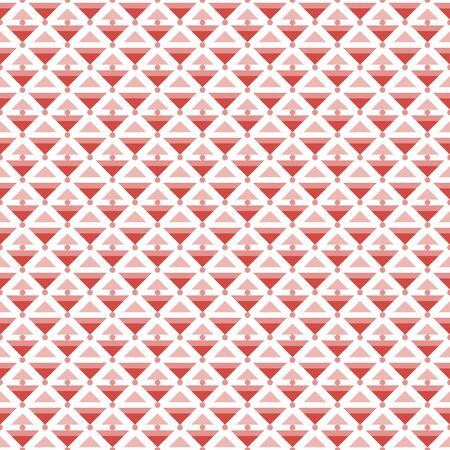 sized: Abstract seamless pattern of different sized triangles and small circles. Endless graphic print in red and white colors. Vector illustration for fabric, paper and other