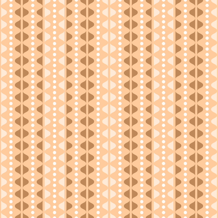 undulating: Elegant seamless pattern in country style. Vertical rows of undulating shapes and small circles. Cute ornament in orange, brown, white colors. Vector illustration for various creative projects