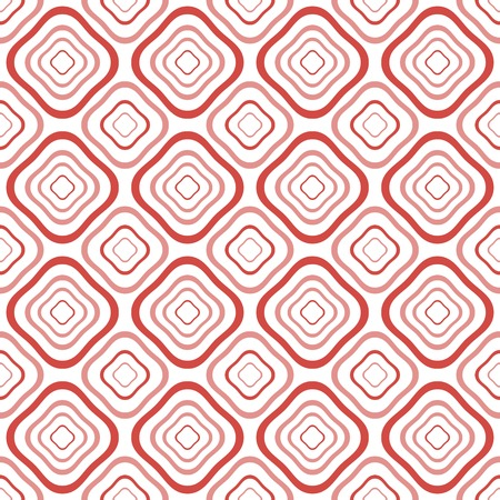 diamond shaped: Abstract seamless pattern of distorted diamond shaped geometric elements with rounded corners one inside the others in white, red, pink colors. Vector illustration for modern creative design