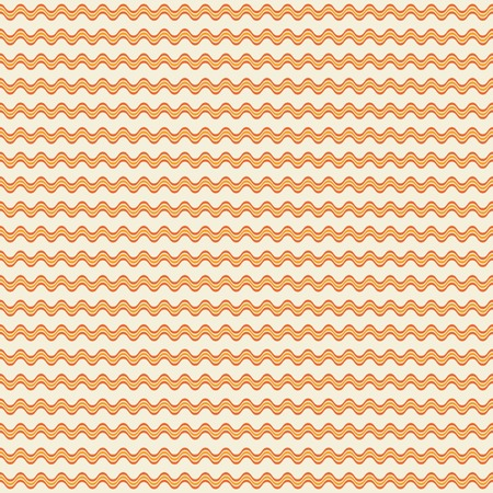 billowy: Abstract seamless geometric pattern of horizontal wavy triple lines. Simple endless print in orange and yellow colors. Vector illustration for fabric, paper and other Illustration